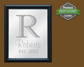 "Family Name Sign, Personalized Mirror, etched with Initial and Name design, 23.5"" x 19.5"" with decorative black frame"