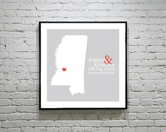 Mississippi Wedding Gift Custom State Map Personalized Couple Art Personalized Mississippi Map State Map Art Personalized