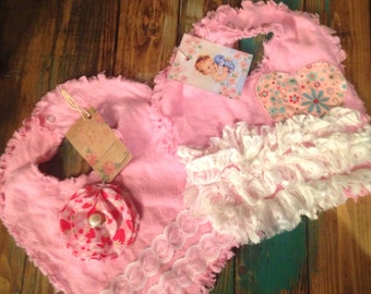 Shabby chic baby bib, one of a kind, baby shower gift