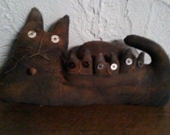 Primitive Folk Art Cat Doll Shelf Sitter - Kittens
