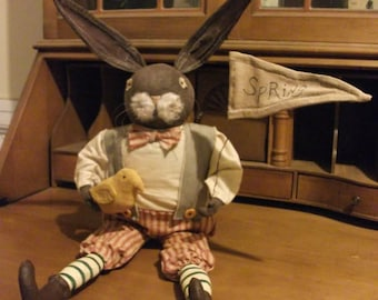 Primitive Dapper Bunny Rabbit Doll - Spring - Easter