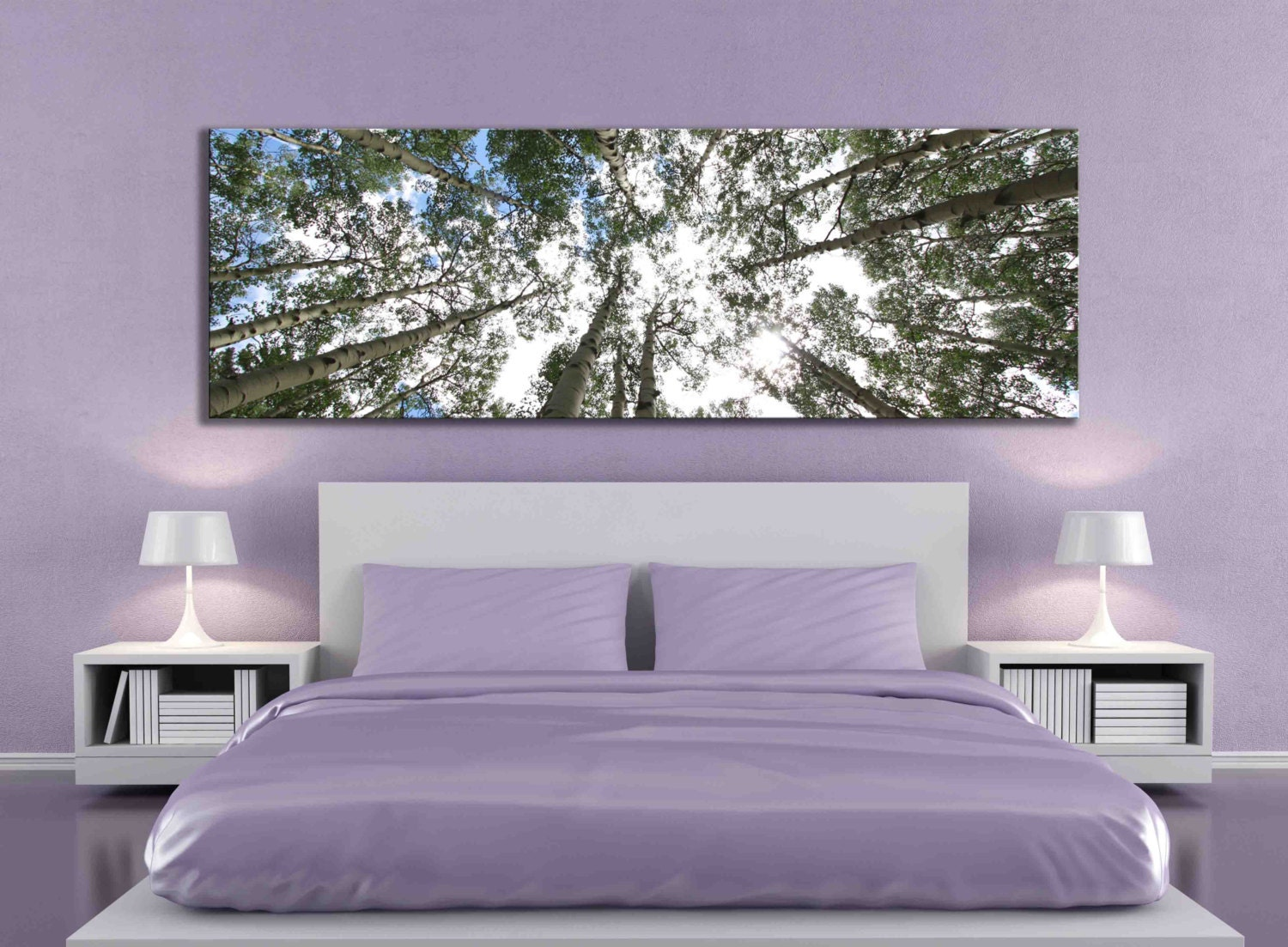 big aspen tree photograph large panoramic canvas print nature. Black Bedroom Furniture Sets. Home Design Ideas
