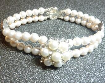 "BEEutiful Vintage Inspired Pearl Wedding Bracelet -- ""Sheri 2"""