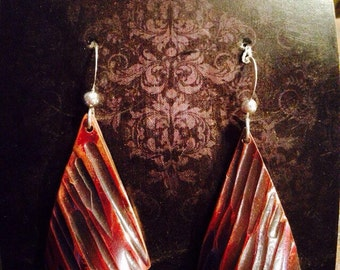 Triangle Textured Copper Earrings
