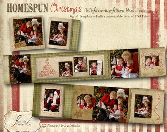 INSTANT DOWNLOAD: Christmas 3x3 Mini Accordion Album template - Homespun Christmas Accordion Mini