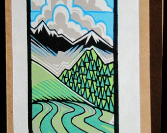 Hand pulled, woodblock printed greeting card, 'Little Landscape'.