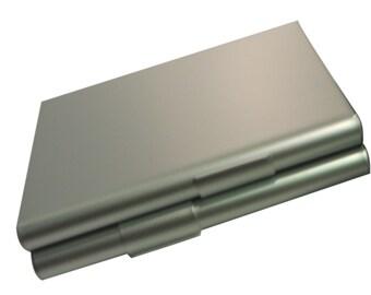 Photo & text engraved / personalised silver tone cigarette case + velvet pouch - CC