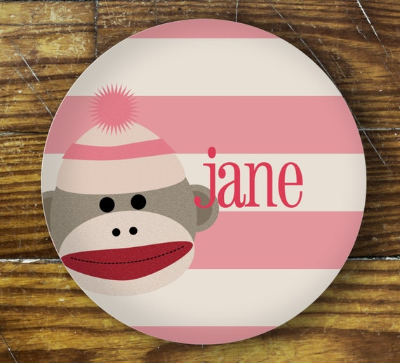 Personalized Dinner Plate or Bowl-sock monkey