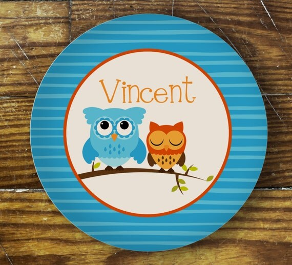Personalized Dinner Plate or Bowl - Blue Owl