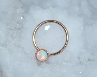 3mm White Opal Nipple Ring - Gold Septum Ring - Nipple Piercing - Septum Piercing - Cartilage Piercing - Conch Piercing 16g - Body Piercing
