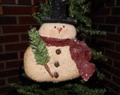 Prim Snowman Ornie with hat and tree - 6 inches tall     READY TO SHIP