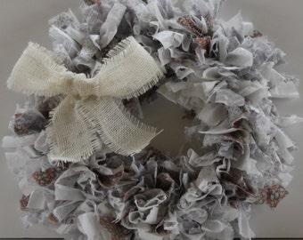 Rag Wreath Fifty Shades of Grey - Ready to Ship
