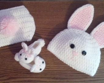 Crochet Bunny Set Hat Slippers and Diaper Cover