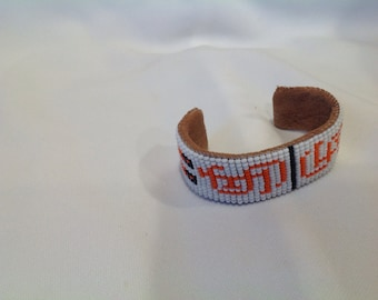 Beaded Bracelet - SF Giants w/feathers White/Orange
