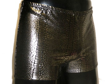 Mens Metallic Shorts, Spandex Hotpants, L, XL, Booty Shorts, Pewter, Silver, Snake Skin Print, Snakeskin, Mens Festival Clothing, Mooners UK