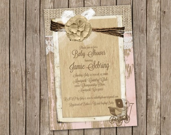 Pink Baby Girl Shower Invitation with Burlap, Shabby Wood and a Vintage Stroller - printable 5x7