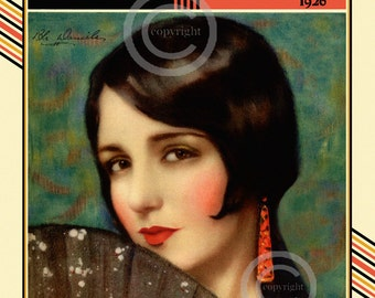 Art Deco Bebe Daniels Print, Hollywood Icon, Silent Screen, Flapper, Motion Picture, Marland Stone, 1926, Giclee fine Art Print, 11x14