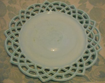 Antique Blue Milk Glass Plate by Challinor & Taylor. Victorian Wall Art. Stained Glass, Scroll, Lacy, Scalloped Rim, or Arch Border. okbc