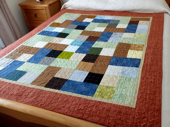 Quilt Patterns For College Students : Masculine lap quilt patchwork quilt for a boy or by StephsQuilts
