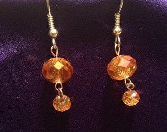 Peach/Reddish Orange Beaded Earrings
