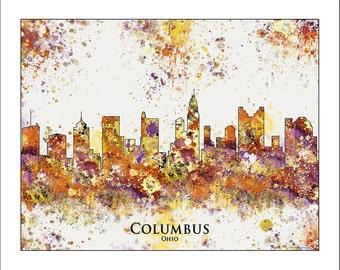 COLUMBUS Skyline, Columbus, OHIO, Map of Ohio, Midwest Map, Map of the Midwest, Buckeyes, Ohio State, OSU