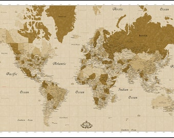 Huge world map  Etsy
