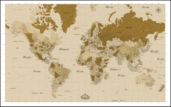 Huge World Map Detailed Map of the World Up To 8feet x 5feet
