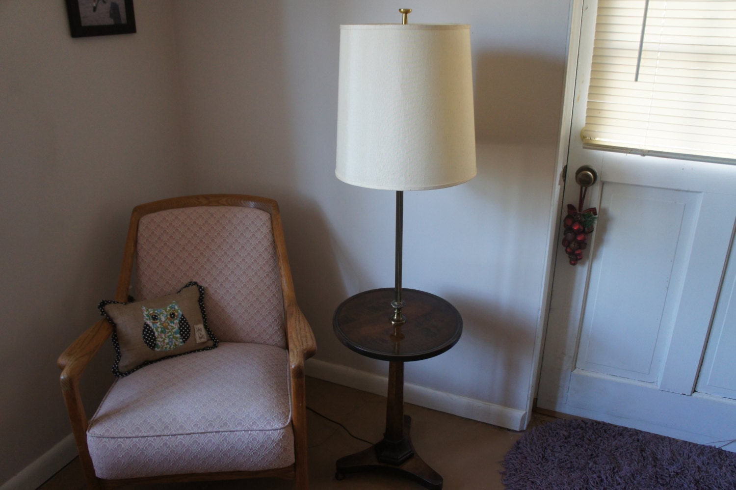 Wood floor lamp with table - Like This Item