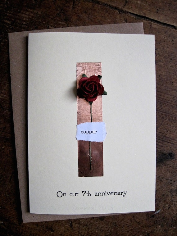 Gift For 7th Wedding Anniversary: 7th Wedding Anniversary Card With Real Copper & Red By