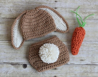 Free Crochet Pattern For Bunny Ears And Diaper Cover : Crochet bunny hat Etsy