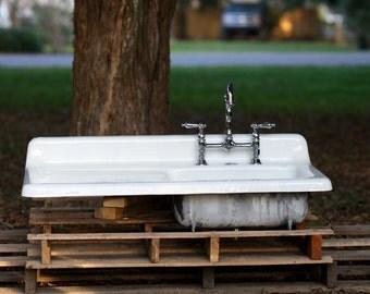 1950 kohler cast iron farmhouse sink 42 x 21 drain by readytore. Black Bedroom Furniture Sets. Home Design Ideas