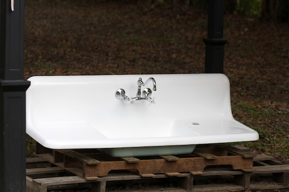 Vintage Refinished Double Drainboard Cast Iron by readytore
