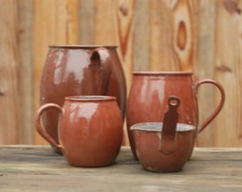 lot old cooking pots