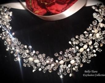 wedding crystal headpiece, crystal pearl wedding hair vine, bridal ribbon headband, bridal hair vine