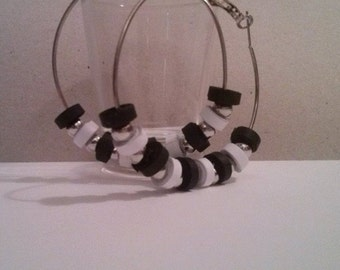 Quilling Earring Black and white Circles