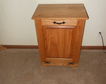 Oak trash bin