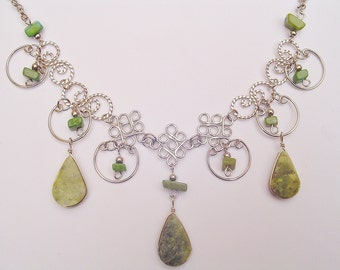 Light-Green Serpentine Teardrops Alpaca Silver Diamonds Inca Necklace Peruvian Jewelry Art - Handmade in Peru