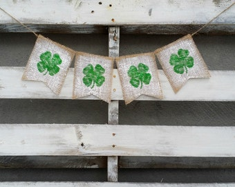 St. Patrick's Burlap Banner, Shamrock Burlap Banner, St. Patrick's Decor