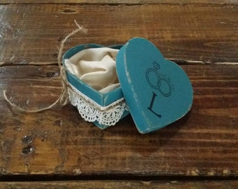 Teal and Lace Heart Shaped Ring Bearer Box, Ring Bearer Pillow Alternative, Wedding Ring Holder, Personalized Ring Box, Engagement Box