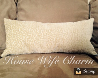 Upcycle Cream Animal Print Long Texture Couch Bed Pillow with Zipper- Cover Only- Ready to ship!