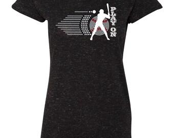 "Rhinestone ""Play On"" Baseball Ladies Sparkle Glitter Tee Shirt"