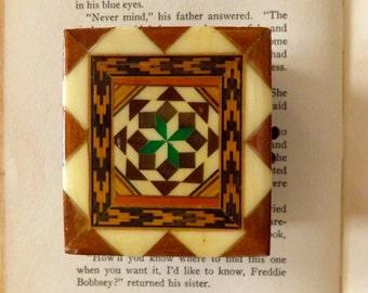 Vintage Inlaid Wood Trinket Jewelry Box, Intricate Inlaid Wood Box
