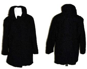 60's black sheep fur coat, Made in Finland