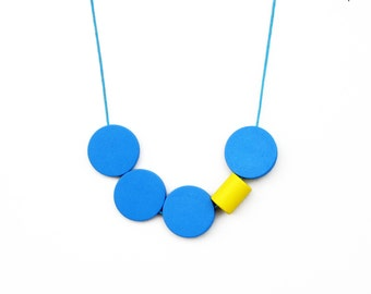 Yellow and Blue Necklace/ / Wooden  Necklace / Geometric Necklace / Long Necklace / Bold Necklace