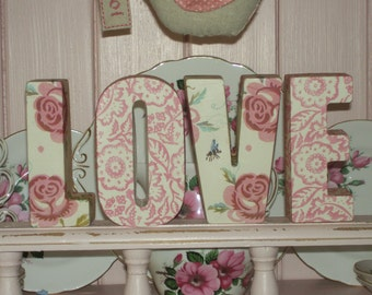 Handcrafted Freestanding LOVE letters made with Emma Bridgewater Design Rose & Bee Shelf Sitter Vintage Home Unique Gift Shabby Chic Display