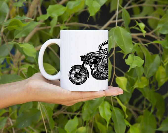 KillerBeeMoto: U.S. Made Octopus Coffee Mug With Octopus On A Cafe Racer Motorcycle On Coffee Mug (White)