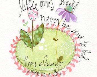 Peter Pan art - Nursery room art - Babies room nursery print - Baby girl art - Hand lettered print - Watercolor kids art - Flower painting