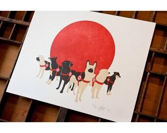 Search Dogs - Japan  Letterpress Print