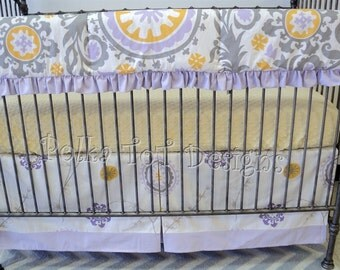 Bumperless Crib set w/Rail Guard:  Lavender, Gray & Yellow Baby Bedding