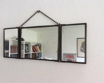 Ancien miroir de barbier triptyque ann es par frenchobjetsdavant for Miroir de barbier
